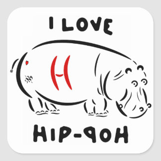I love hip-hop (and hippos)! square sticker