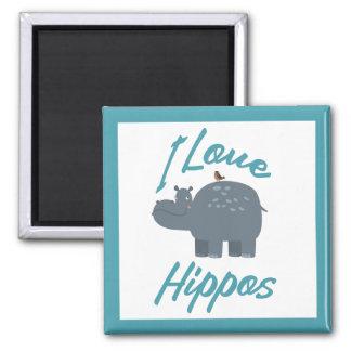 I Love Hippos Cute Kid Friendly Hippo Design Square Magnet