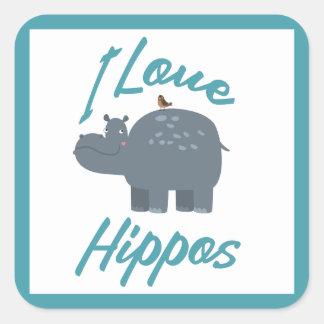 I Love Hippos Cute Kid Friendly Hippo Design Square Sticker