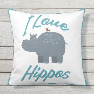 I Love Hippos Cute Kid Friendly Hippo Design Throw Pillow