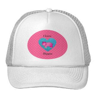 I love hippos pink polka dots mesh hat