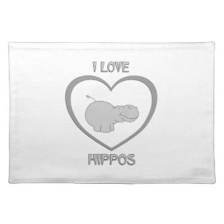 I Love Hippos Placemat