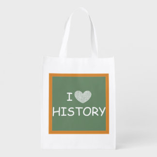 I Love History Reusable Grocery Bag