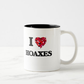 I Love Hoaxes Two-Tone Mug