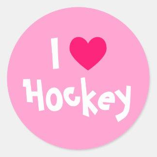 I Love Hockey Round Sticker