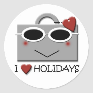 I love holidays round sticker