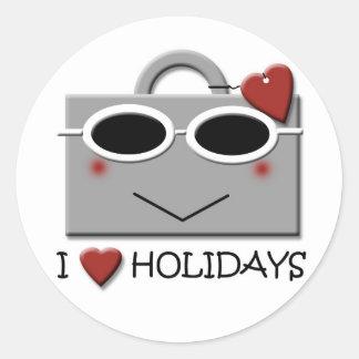 I love holidays round sticker