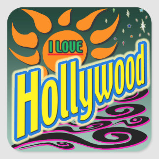 """I LOVE Hollywood"" Night Sunshine"" Sticker! Square Sticker"