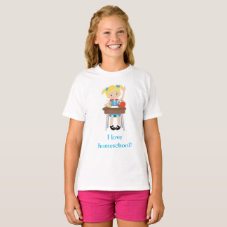 I love home school little girl's T-Shirt