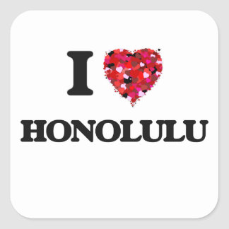 I love Honolulu Hawaii Square Sticker