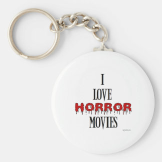 I love Horror movies Basic Round Button Key Ring