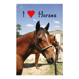 """I love Horses"" Beautiful Horse Stationary Personalized Stationery"