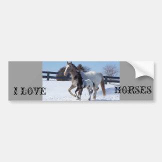 I LOVE HORSES CAR BUMPER STICKER