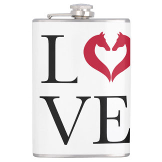 I love horses, heart with horse heads hip flask