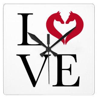 I love horses, heart with horse heads square wall clock