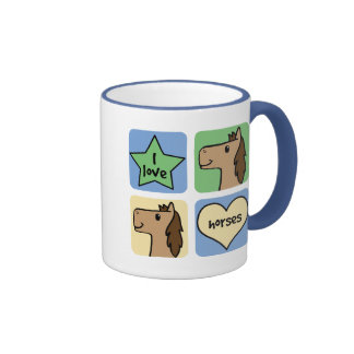 I Love Horses Coffee Mugs