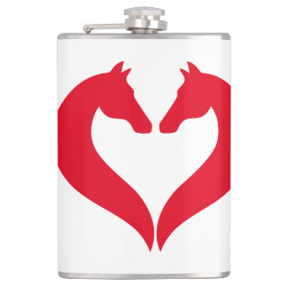 I love horses, red heart with horse head hip flask