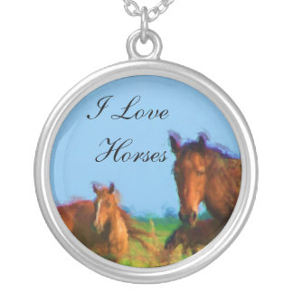 I Love Horses Silver Plated Necklace