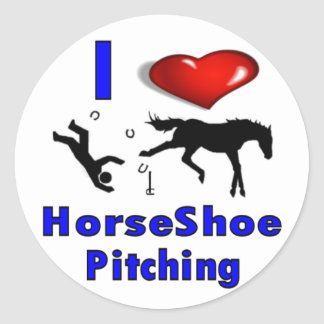 I Love HorseShoe Pitching Classic Round Sticker
