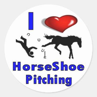 I Love HorseShoe Pitching Round Sticker