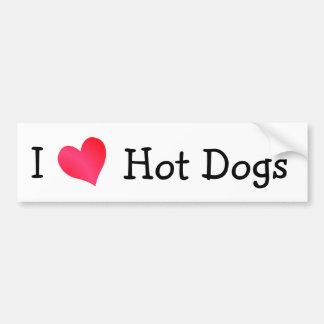 I Love Hot Dogs Car Bumper Sticker