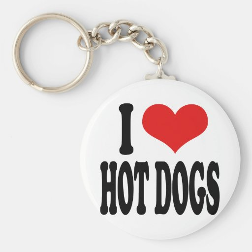 I Love Hot Dogs Keychains