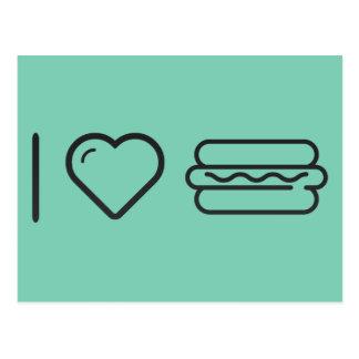I Love Hotdog Postcard