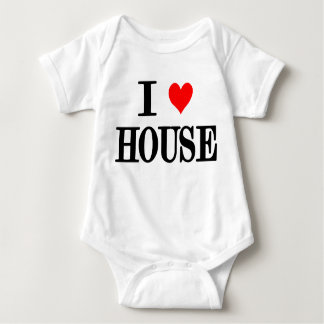 "I Love House ""house music"" baby one peice dj edm Baby Bodysuit"