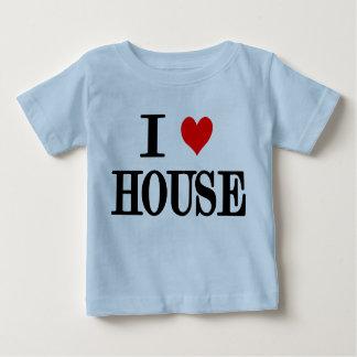 """i love house"" ""i love house music"" baby tee blue"