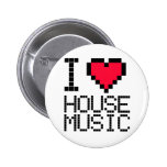 I Love House Music 8Bit Pinback Buttons