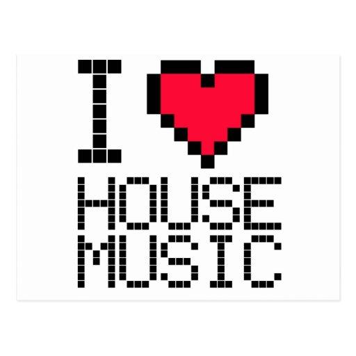 I Love House Music 8Bit Postcard