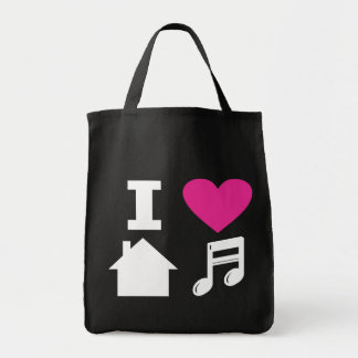 I love house music tote bags