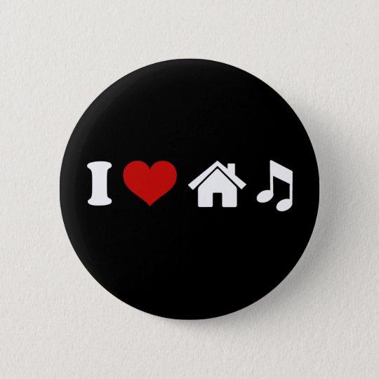 I Love House Music Black Button | Ibiza Dancing