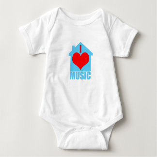 I Love House Music - Heart House Baby Bodysuit
