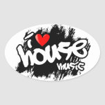 I Love House Music Oval Stickers