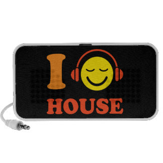 I love house music smiley face with headphones iPhone speaker