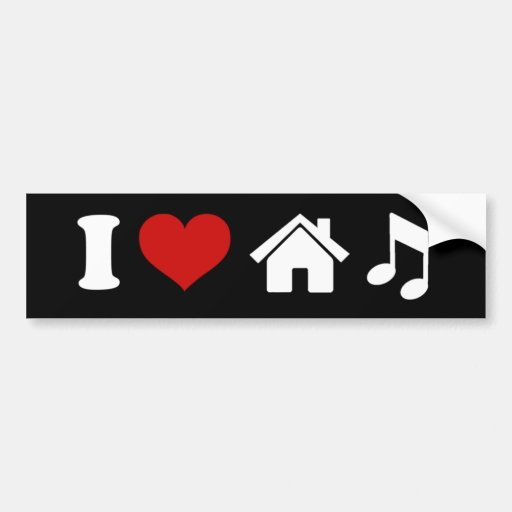 I Love House Music Sticker Bumper Sticker