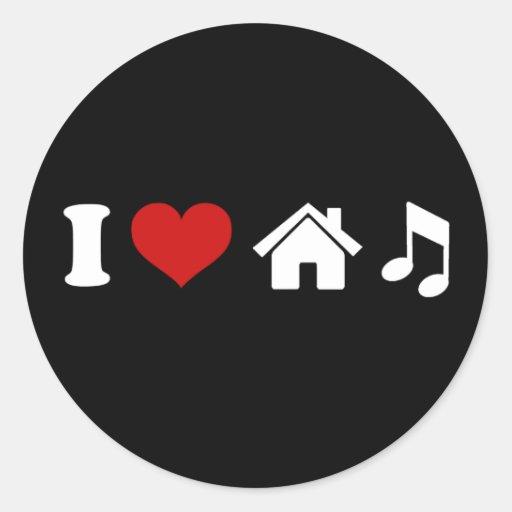 I Love House Music Sticker Round Stickers