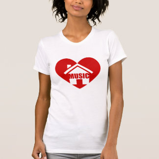 i love house music t shirt with red heart