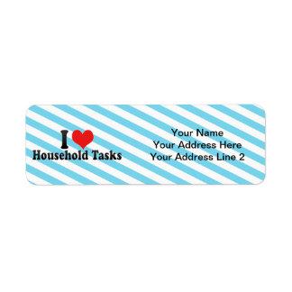 I Love Household Tasks Return Address Label