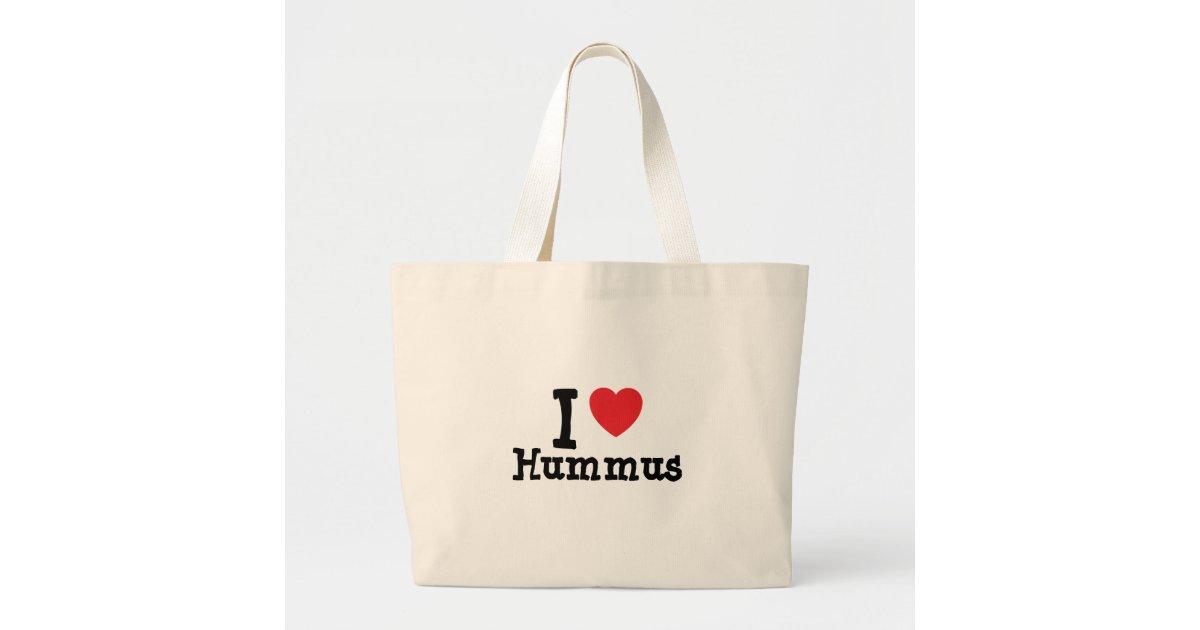 I love hummus heart t shirt jumbo tote bag zazzle for Jumbo t shirt bags