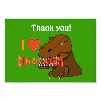 """I Love I Heart Dinosaurs Cartoon Tyrranosaurus Rex 3.5"""" X 5"""" Invitation Card"""