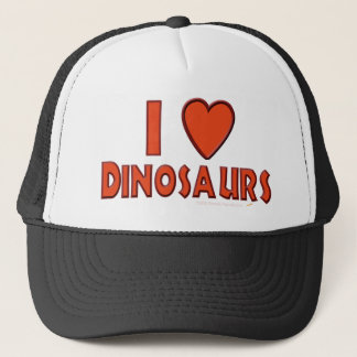 I Love (I Heart) Dinosaurs Dinosaur Lover Red Trucker Hat