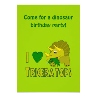 "I Love (I Heart) Triceratops Cute Dinosaur 5"" X 7"" Invitation Card"