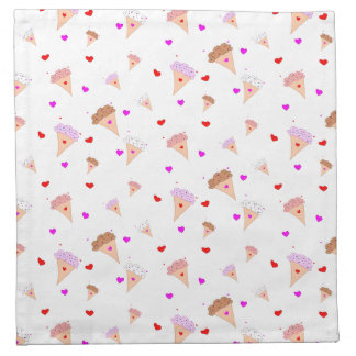 I Love Ice Cream, Cones Hearts Flavors Pattern Napkin