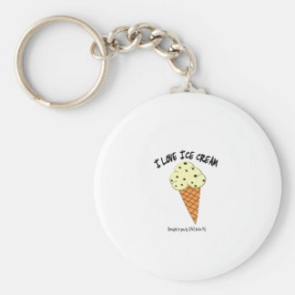 I LOVE ICE CREAM - LOVE TO BE ME BASIC ROUND BUTTON KEY RING