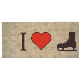 I Love Ice Skating Wood USB Flash Drive