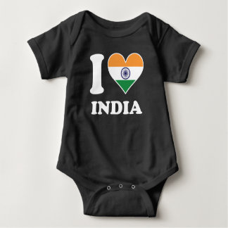I Love India Indian Flag Heart Baby Bodysuit