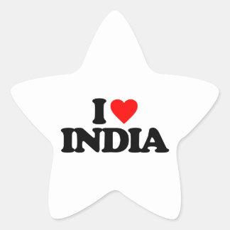 I LOVE INDIA STAR STICKERS