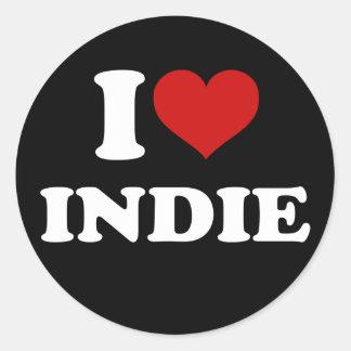 I Love Indie Round Sticker